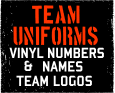 Vinyl logos and numbers by Action Graphics in Prescott - Customize your uniforms today!